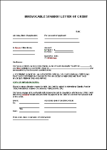 Standby letter of credit template